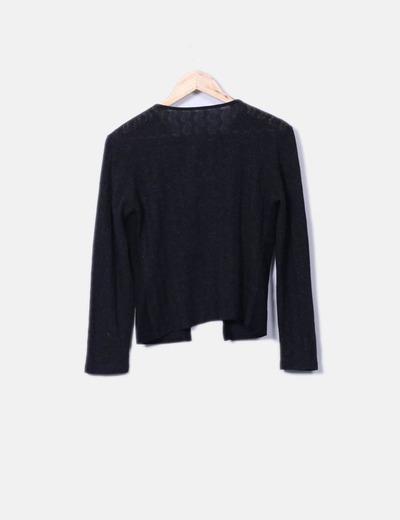 Chaqueta tricot negra combinada con antelina