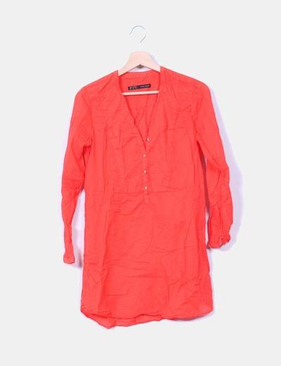 Blusa roja semi-transparente Zara