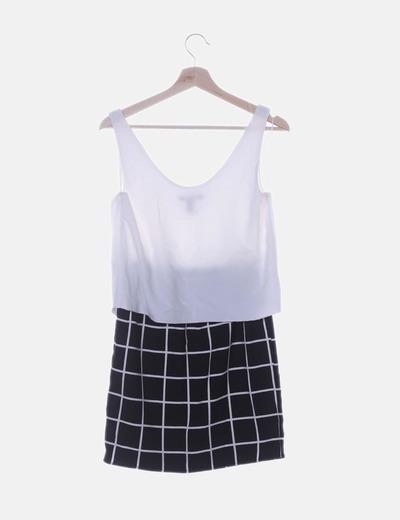 precio baratas venta oficial Excelente calidad Vestido combinado blanco y negro