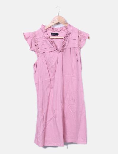 5b8a43a852 Vero Moda Vestido rosa com detalhes em crochet (desconto de 71 ...