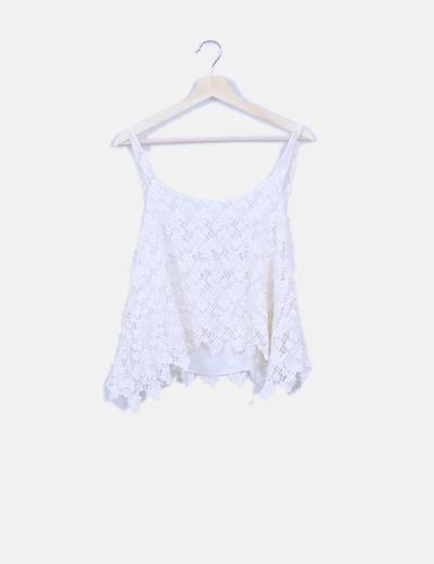 Camiseta de tirantes encaje blanco