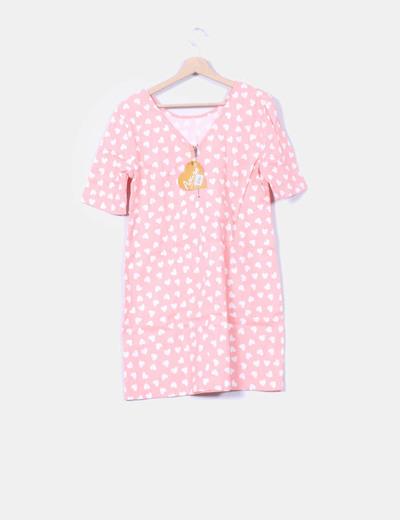 Vestido denim rosa claro print corazones