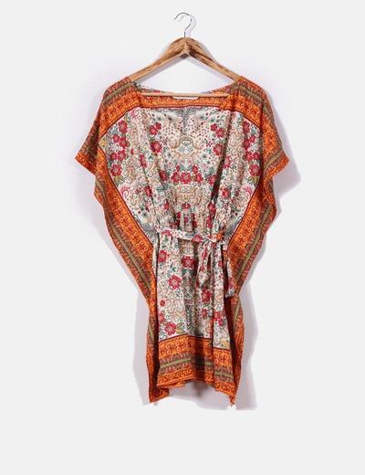 0bd397fd3 Zara Vestido tipo túnica estampado multicolor (descuento 60%) - Micolet
