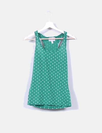 Camiseta nadadora verde topos blancos Bershka
