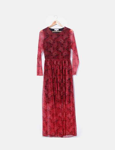 Maxi dress red floral print Selected femme