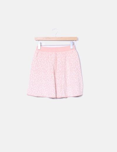 Mini falda estampado rosa evasé