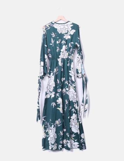 Maxi vestido verde floral satinado