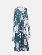 Maxi satin floral green dress NoName