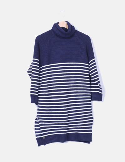 Vestido de lana navy print Hippyssidy