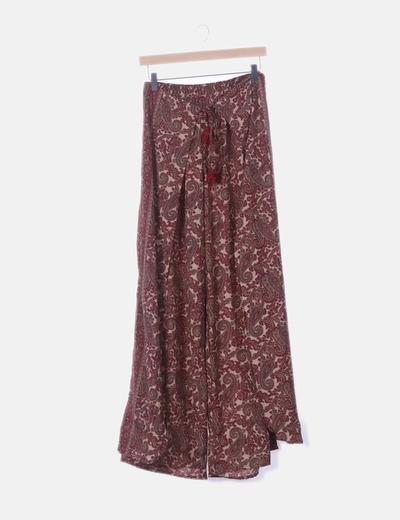 Pantalón fluido bicolor estampado cashmere