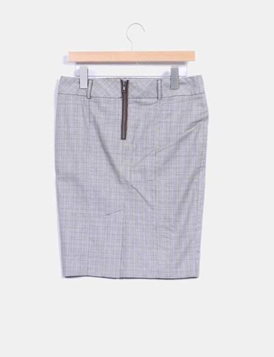 Falda midi gris print cuadros