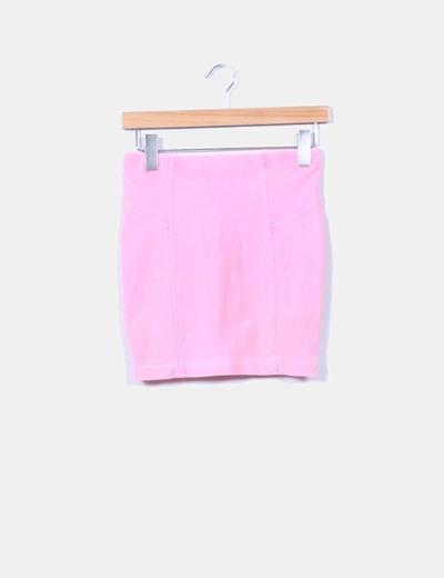 Mini falda rosa flúor Bershka