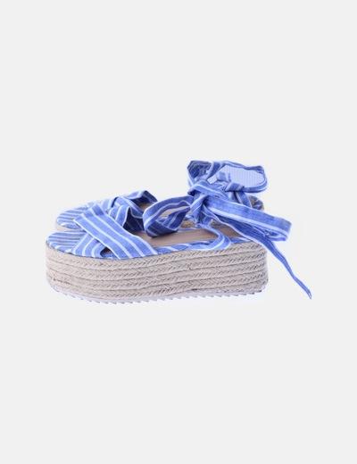 Sandalias plataforma rayas azules