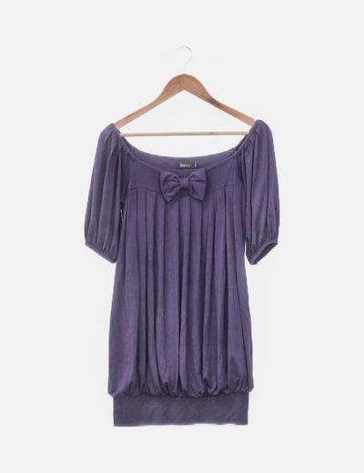 Vestido morado lazo