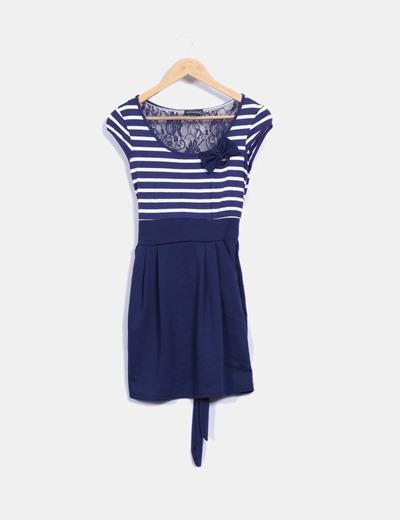 Vestido Azul Y Blanco Combinado Con Encaje