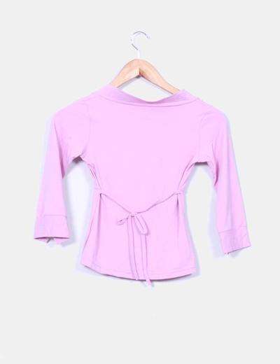 Top rosa elastico manga francesa