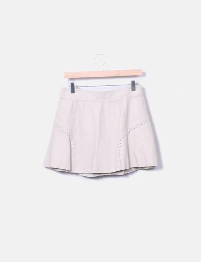 Mini falda cuero beige