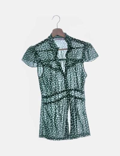 Camisa de gasa verde manga corta