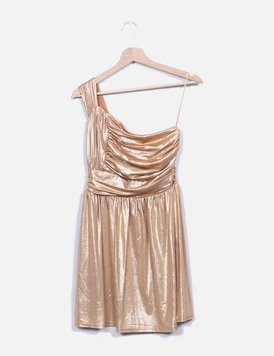Vestido gold asimétrico Suiteblanco (Night)