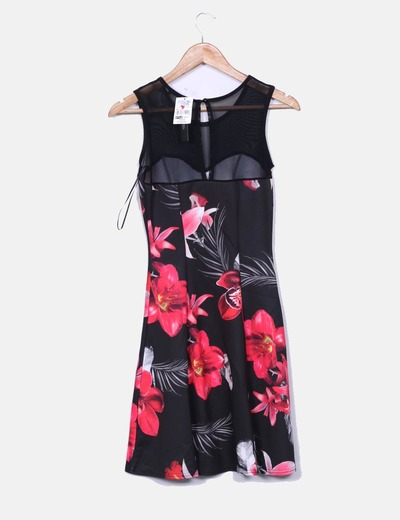 Vestido floral escote semitransparente