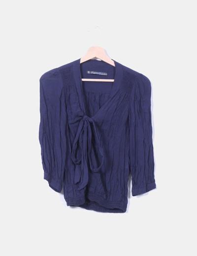 Blusa azul marina drapeada Zara