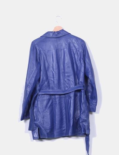 Abrigo azul klein de piel