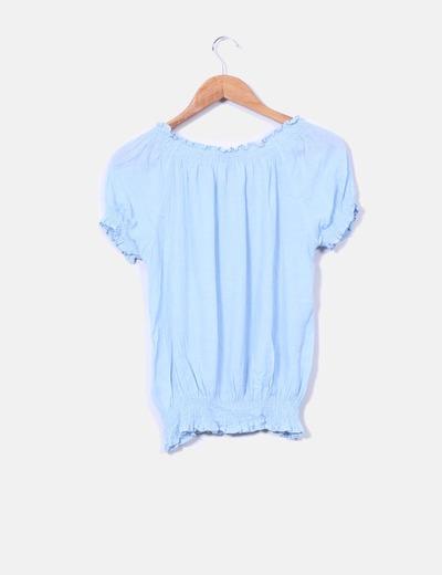 Blusa boho azul celeste