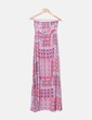 Maxi vestido palabra de honor estampado multicolor Bershka