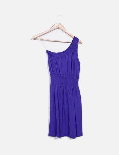 Vestido elastico morado asimetrico