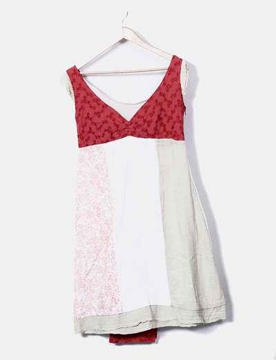 Vestido boho patchwork con chal