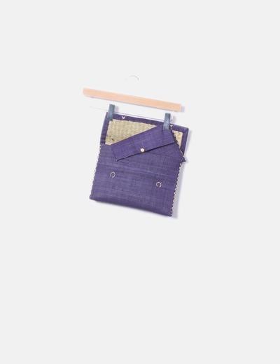 Sac à main bleu avec motif ensemble du portefeuille beige NoName