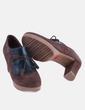 Zapato abotinado combinado marrón y verde Yokono