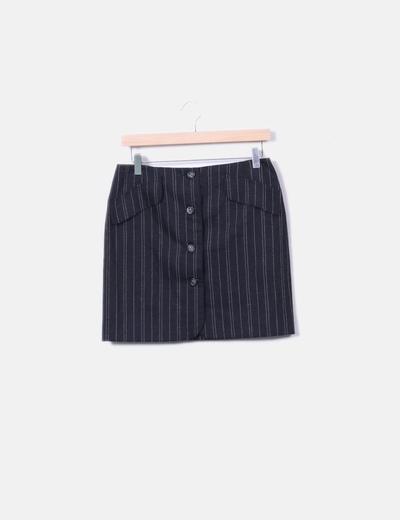Conjunto blazer y falda midi de rayas