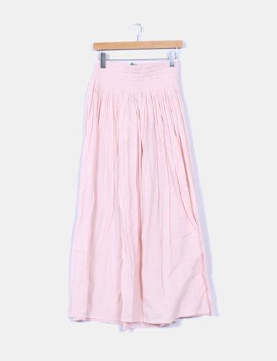 Falda rosa palo drapeada Benetton