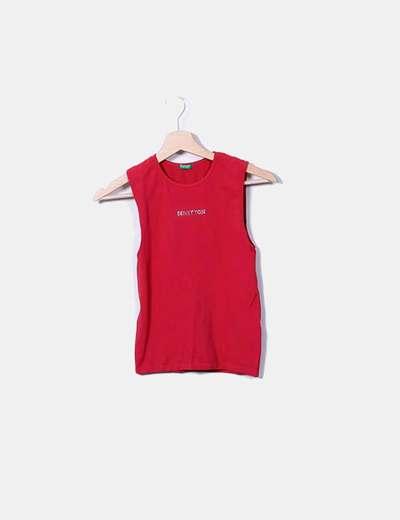 Benetton T-shirt rouge sans manches (réduction 78%) - Micolet 6c1a4dca051
