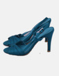 Sandalia tacón satinado azul Marypaz
