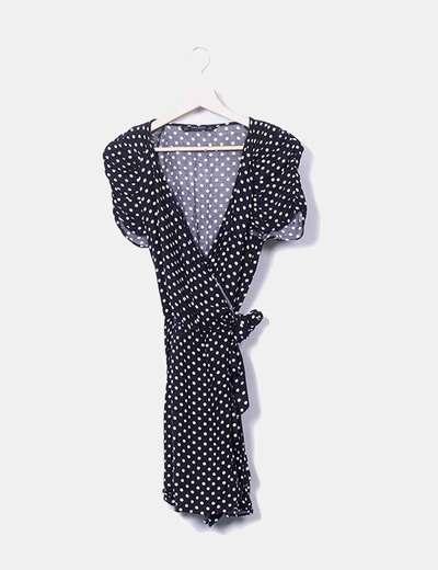 Vestido negro cruzado con lunares Zara