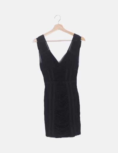 Vestido negro gasa y encaje
