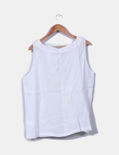 8820030e4 Marina Rinaldi Blusa blanca de lino sin mangas (descuento 92%) - Micolet