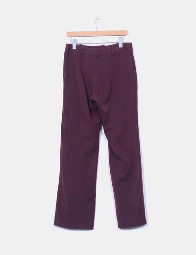 Pantalon sarga burdeos