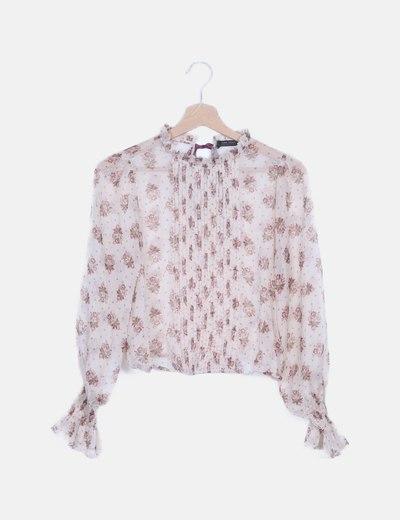 Blusa nude semitransparente estampado floral