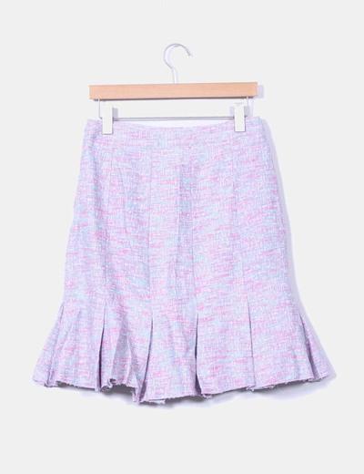 Falda midi tricolor texturizada con tablas