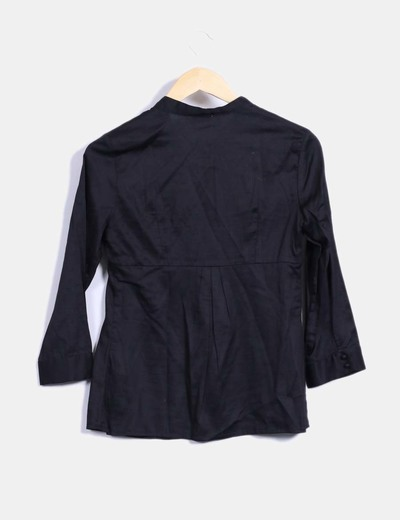 Camisa negra manga francesa