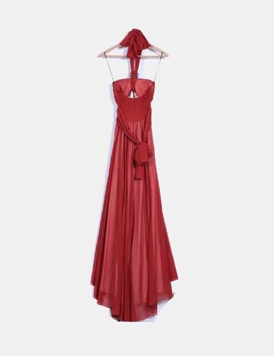 Maxi vestido color teja cuello halter con abalorios