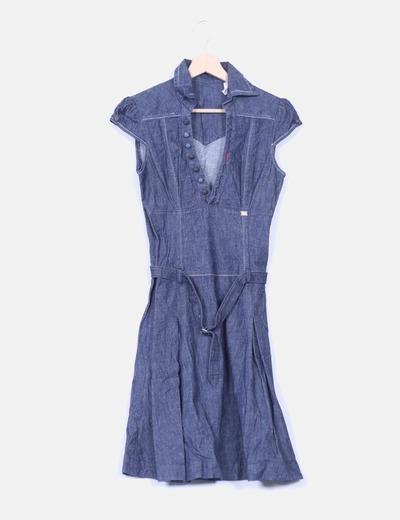 muchos de moda cupón de descuento varios colores Vestido vaquero manga corta