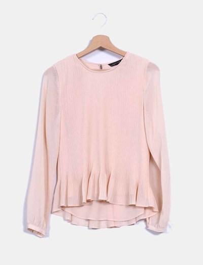 Blusa en gasa color nude Zara