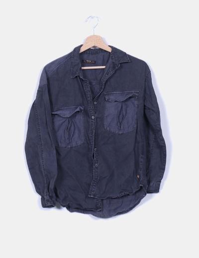 Camisa denim gris efecto desgastado Pull&Bear