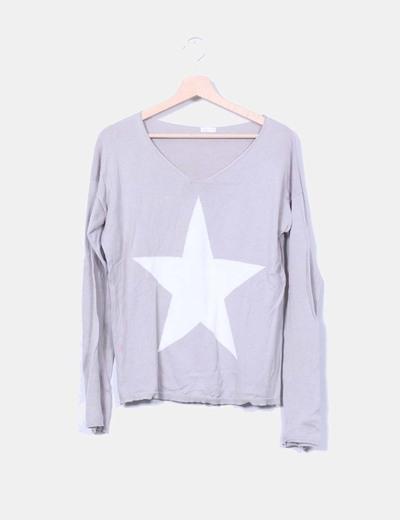 Jersey gris print estrella Oysho