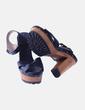Sandalia tacón negra combinada madera Pull&Bear
