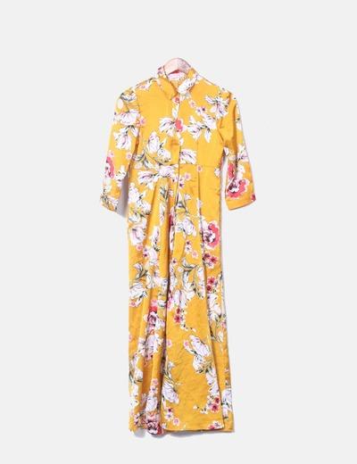 Vestido maxi amarillo satén floral